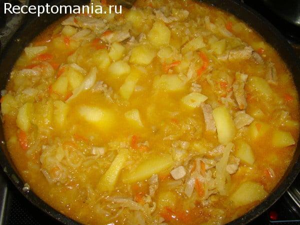 Солянка с капустой и картошкой в мультиварке рецепт с фото